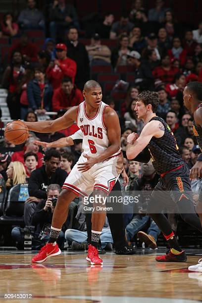 Cristiano Felicio of the Chicago Bulls drives to the basket against the Atlanta Hawks during the game on February 10 2016 at United Center in Chicago...