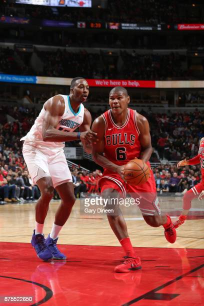 Cristiano Felicio of the Chicago Bulls drives to the basket against the Charlotte Hornets on November 17 2017 at the United Center in Chicago...