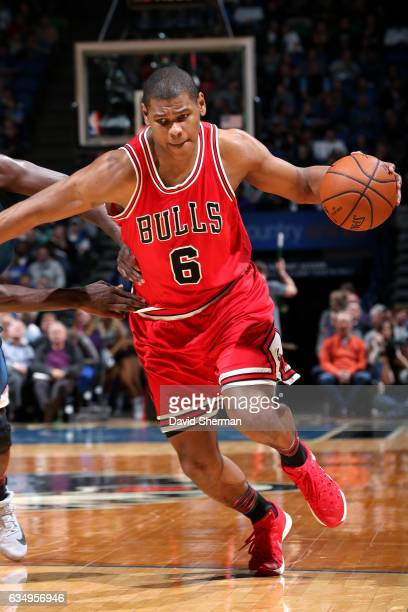 Cristiano Felicio of the Chicago Bulls drives to the basket during the game against the Minnesota Timberwolves on February 12 2017 at Target Center...