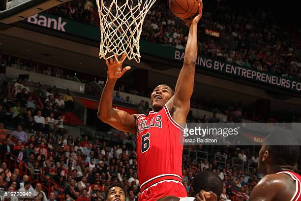 Cristiano Felicio of the Chicago Bulls dunks against the Miami Heat on April 7 2016 at AmericanAirlines Arena in Miami Florida NOTE TO USER User...