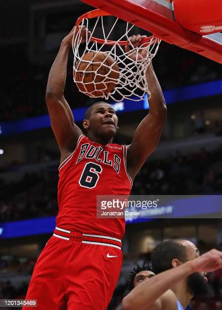 Cristiano Felicio of the Chicago Bulls dunks against the Minnesota Timberwolves at the United Center on January 22, 2020 in Chicago, Illinois. The...