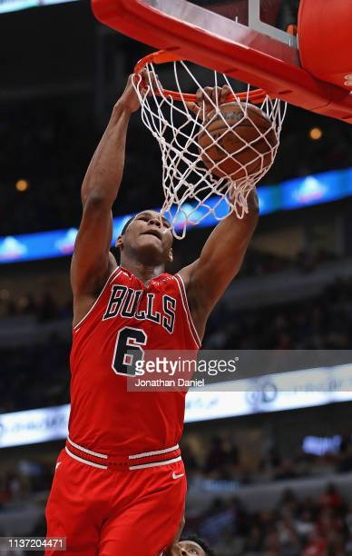Cristiano Felicio of the Chicago Bulls dunks against the Washington Wizards at the United Center on March 20, 2019 in Chicago, Illinois. NOTE TO...