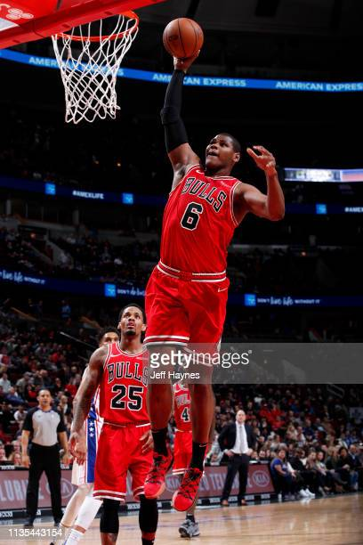 Cristiano Felicio of the Chicago Bulls dunks the ball against the Philadelphia 76ers on April 6 2019 at United Center in Chicago Illinois NOTE TO...
