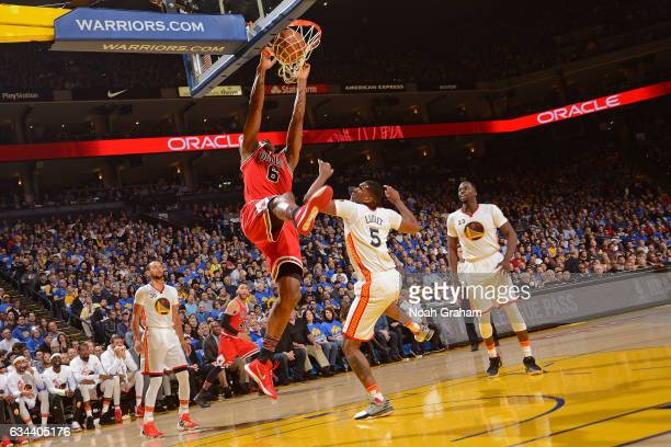 Cristiano Felicio of the Chicago Bulls dunks the ball against the Golden State Warriors on February 8, 2017 at ORACLE Arena in Oakland, California....