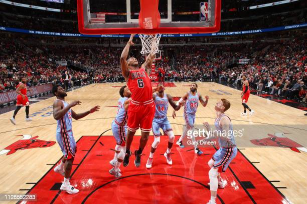 Cristiano Felicio of the Chicago Bulls dunks the ball during the game against the Atlanta Hawks on March 3 2019 at the United Center in Chicago...