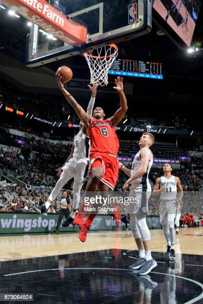 Cristiano Felicio of the Chicago Bulls goes for a lay up against the San Antonio Spurs on November 11 2017 at the ATT Center in San Antonio Texas...