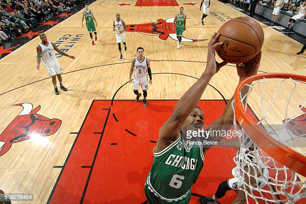 Cristiano Felicio of the Chicago Bulls goes for the dunk during the game against the Brooklyn Nets on March 17 2016 at the United Center in Chicago...