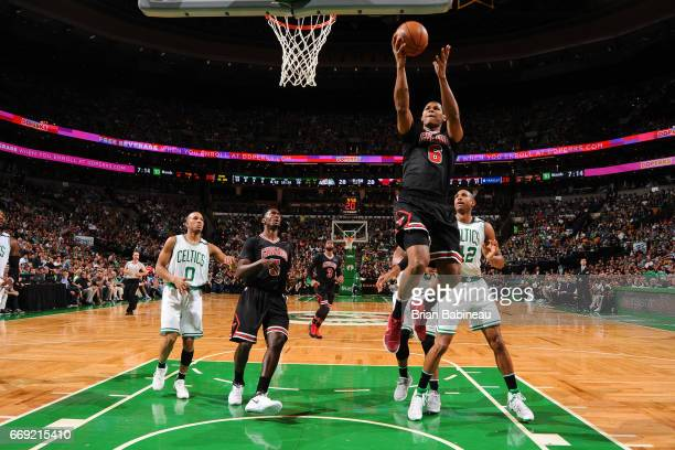 Cristiano Felicio of the Chicago Bulls goes to the basket against the Boston Celtics during the Eastern Conference Quarterfinals of the 2017 NBA...