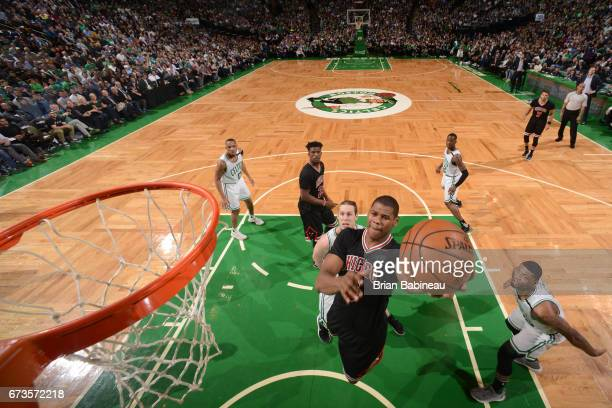 Cristiano Felicio of the Chicago Bulls goes to the basket against the Boston Celtics during Game Five of the Eastern Conference Quarterfinals of the...