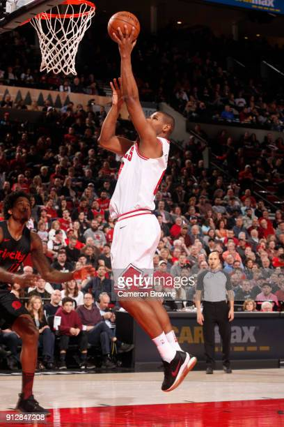 Cristiano Felicio of the Chicago Bulls goes to the basket against the Portland Trail Blazers on January 31 2018 at the Moda Center in Portland Oregon...