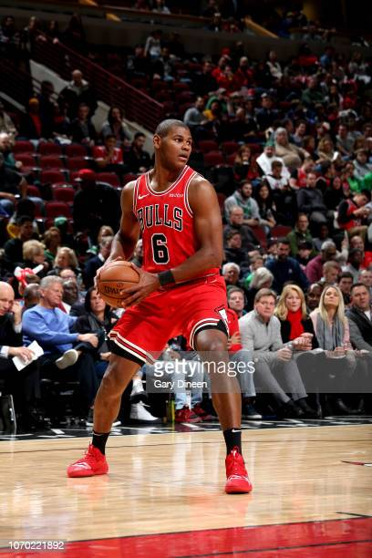 Cristiano Felicio of the Chicago Bulls handles the ball against the Boston Celtics on December 8 2018 at the United Center in Chicago Illinois NOTE...