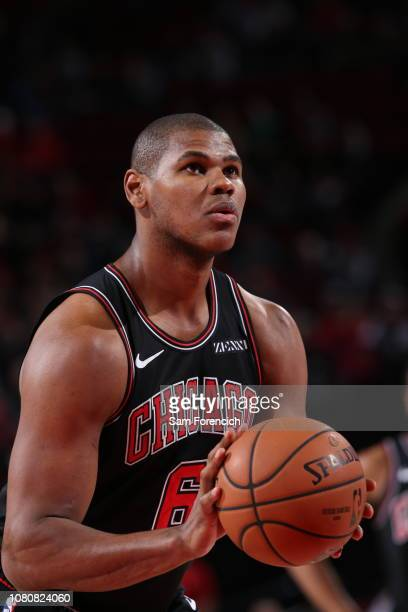 Cristiano Felicio of the Chicago Bulls handles the ball against the Portland Trail Blazers on January 9 2019 at the Moda Center Arena in Portland...