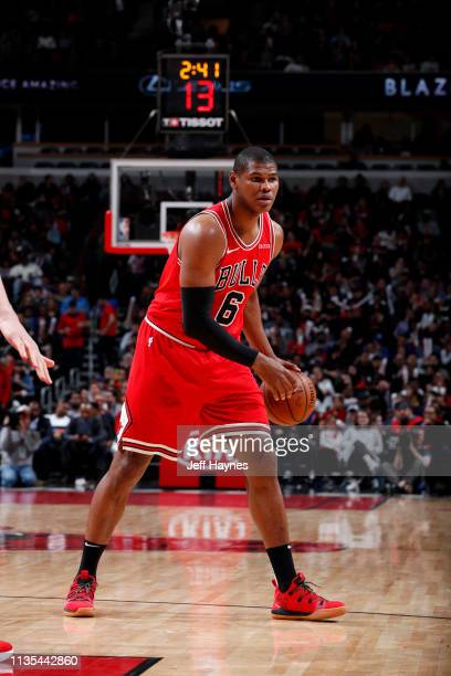 Cristiano Felicio of the Chicago Bulls handles the ball against the Philadelphia 76ers on April 6 2019 at United Center in Chicago Illinois NOTE TO...