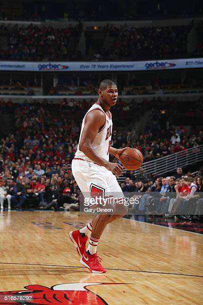 Cristiano Felicio of the Chicago Bulls handles the ball against the Utah Jazz on March 19 2016 at the United Center in Chicago Illinois NOTE TO USER...