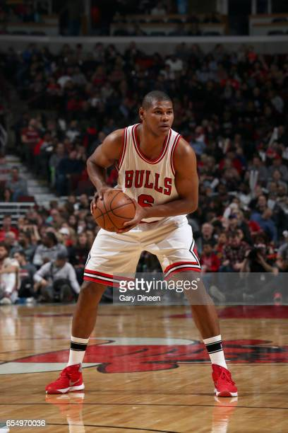 Cristiano Felicio of the Chicago Bulls handles the ball against the Utah Jazz on March 18 2017 at the United Center in Chicago Illinois NOTE TO USER...