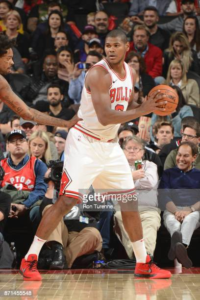 Cristiano Felicio of the Chicago Bulls handles the ball against the Toronto Raptors on November 7 2017 at the Air Canada Centre in Toronto Ontario...