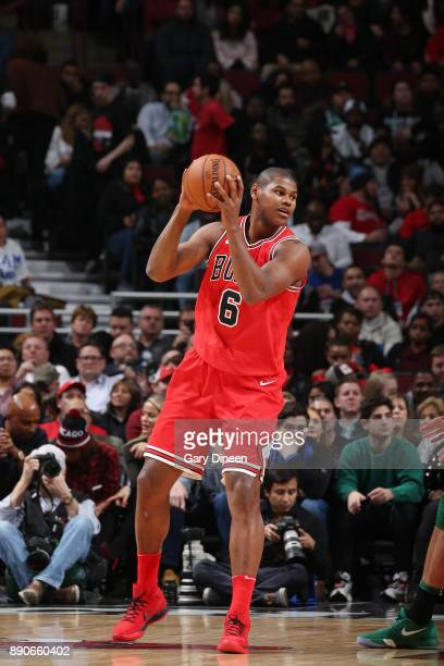Cristiano Felicio of the Chicago Bulls handles the ball against the Boston Celtics on December 11 2017 at the United Center in Chicago Illinois NOTE...
