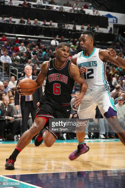 Cristiano Felicio of the Chicago Bulls handles the ball against the Charlotte Hornets on February 27 2018 at Spectrum Center in Charlotte North...