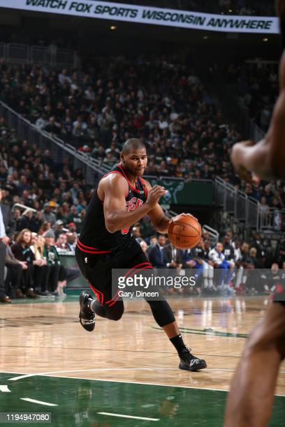 Cristiano Felicio of the Chicago Bulls handles the ball during a game against the Milwaukee Bucks on January 20 2020 at the Fiserv Forum Center in...