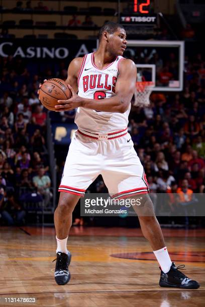 Cristiano Felicio of the Chicago Bulls handles the ball during the game against the Phoenix Suns on March 18 2019 at Talking Stick Resort Arena in...