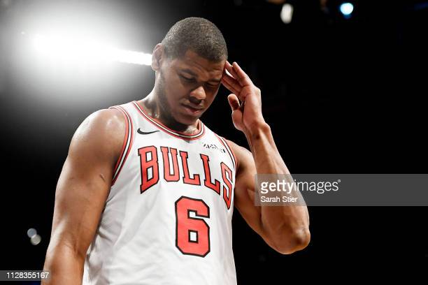 Cristiano Felicio of the Chicago Bulls looks on during the first half of the game against the Brooklyn Nets at Barclays Center on February 08 2019 in...