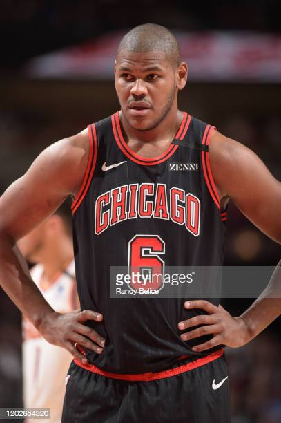 Cristiano Felicio of the Chicago Bulls looks on during the game against the Phoenix Suns on February 22, 2020 at the United Center in Chicago,...