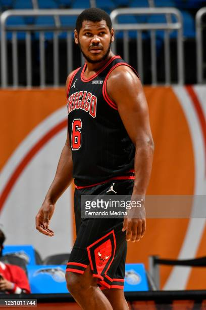 Cristiano Felicio of the Chicago Bulls looks on during the game against the Orlando Magic on February 6, 2021 at Amway Center in Orlando, Florida....