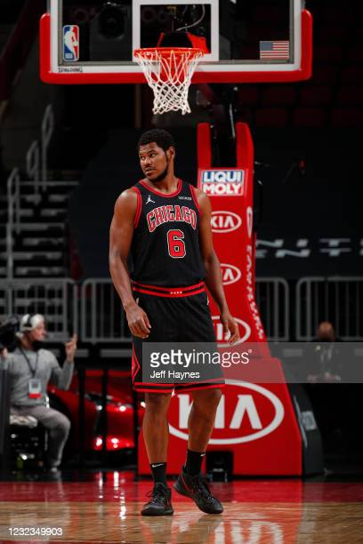 Cristiano Felicio of the Chicago Bulls looks on during the game against the Memphis Grizzlies on April 16, 2021 at United Center in Chicago,...