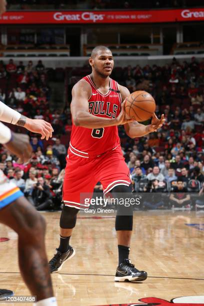 Cristiano Felicio of the Chicago Bulls passes the ball against the Oklahoma City Thunder on February 25 2020 at the United Center in Chicago Illinois...