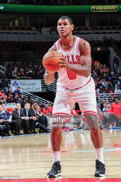 Cristiano Felicio of the Chicago Bulls prepares to shoot the ball during the preseason game against the New Orleans Pelicans on October 8 2017 at...