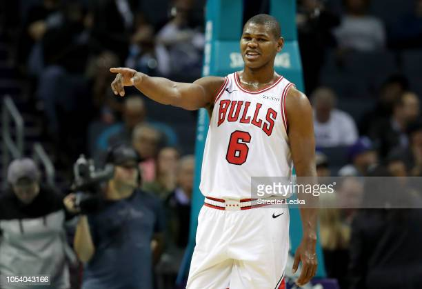 Cristiano Felicio of the Chicago Bulls reacts against the Charlotte Hornets during their game at Spectrum Center on October 26 2018 in Charlotte...