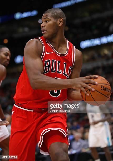 Cristiano Felicio of the Chicago Bulls rebounds against the Charlotte Hornets at the United Center on November 17 2017 in Chicago Illinois The Bulls...