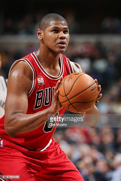 Cristiano Felicio of the Chicago Bulls shoots a free throw against the Memphis Grizzlies on April 5 2016 at FedExForum in Memphis Tennessee NOTE TO...