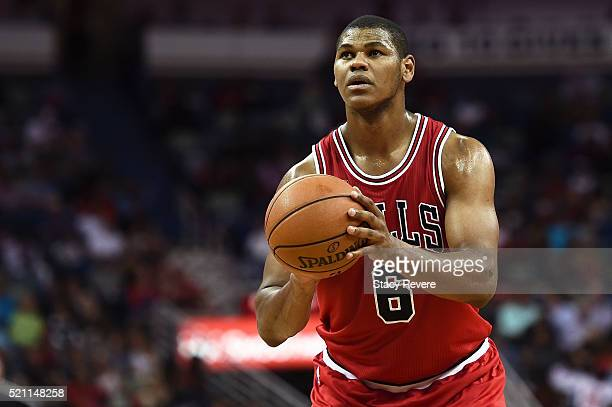 Cristiano Felicio of the Chicago Bulls shoots a free throw during a game against the New Orleans Pelicans at the Smoothie King Center on April 11...