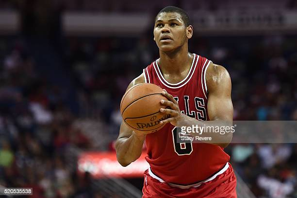Cristiano Felicio of the Chicago Bulls shoots a free throw during the second half of a game against the New Orleans Pelicans at the Smoothie King...