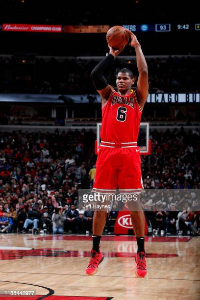 Cristiano Felicio of the Chicago Bulls shoots the ball against the Philadelphia 76ers on April 6 2019 at United Center in Chicago Illinois NOTE TO...