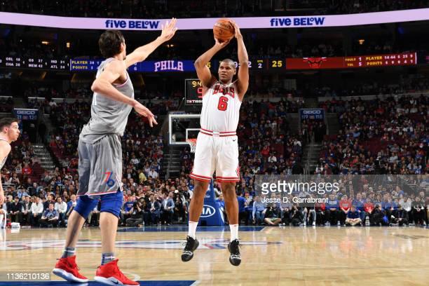 Cristiano Felicio of the Chicago Bulls shoots the ball against the Philadelphia 76ers on April 10 2019 at the Wells Fargo Center in Philadelphia...