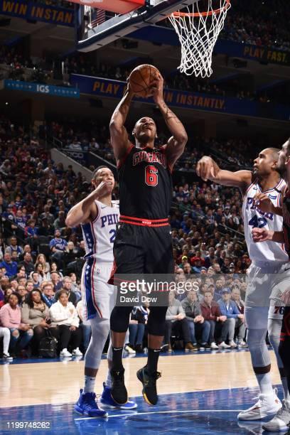 Cristiano Felicio of the Chicago Bulls shoots the ball against the Philadelphia 76ers on February 9 2020 at the Wells Fargo Center in Philadelphia...