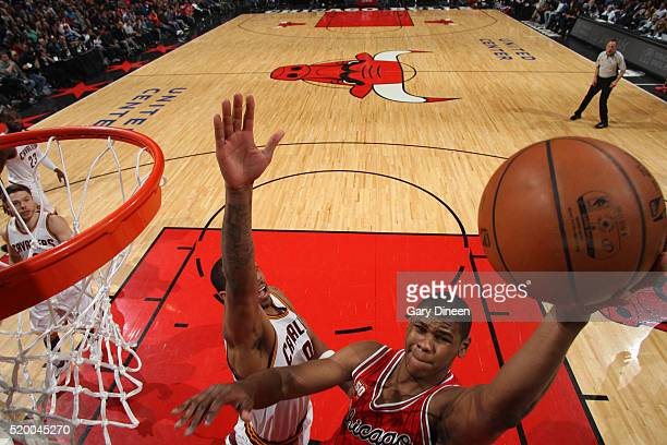 Cristiano Felicio of the Chicago Bulls shoots the ball against the Cleveland Cavaliers on April 9 2016 at the United Center in Chicago Illinois NOTE...
