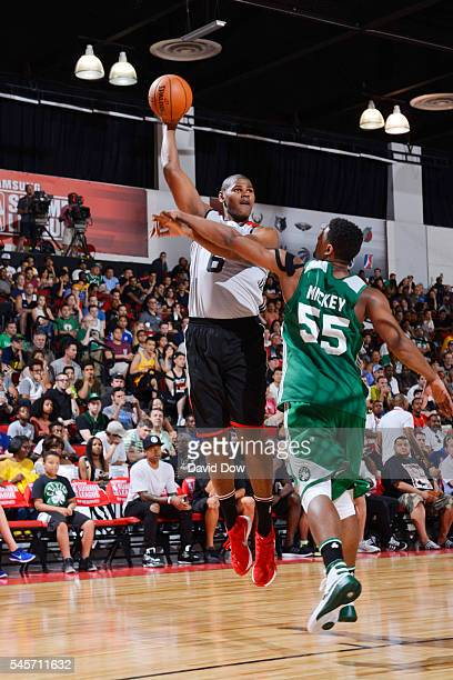 Cristiano Felicio of the Chicago Bulls shoots the ball against the Boston Celtics during the 2016 NBA Las Vegas Summer League game on July 9 2016 at...
