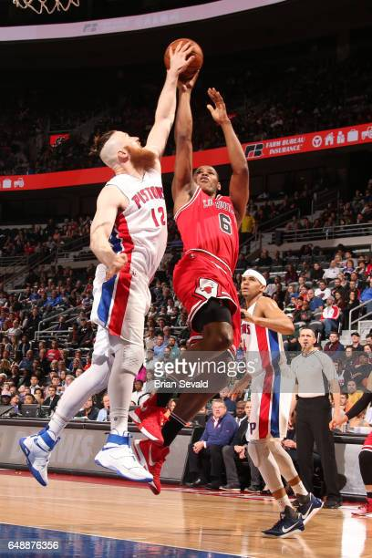 Cristiano Felicio of the Chicago Bulls shoots the ball against the Detroit Pistons on March 6 2017 at The Palace of Auburn Hills in Auburn Hills...