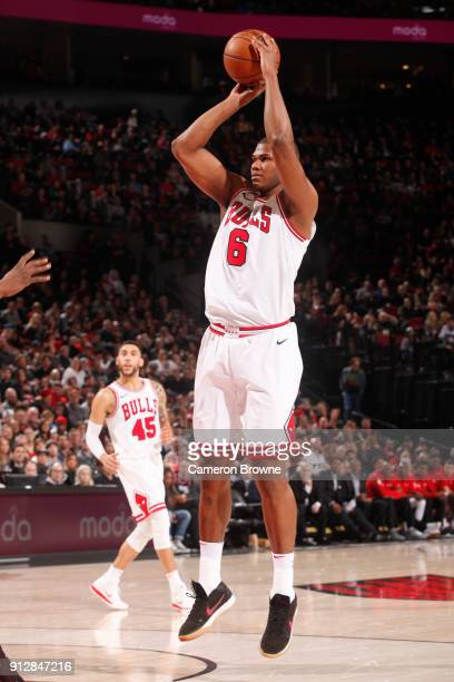 Cristiano Felicio of the Chicago Bulls shoots the ball against the Portland Trail Blazers on January 31 2018 at the Moda Center in Portland Oregon...