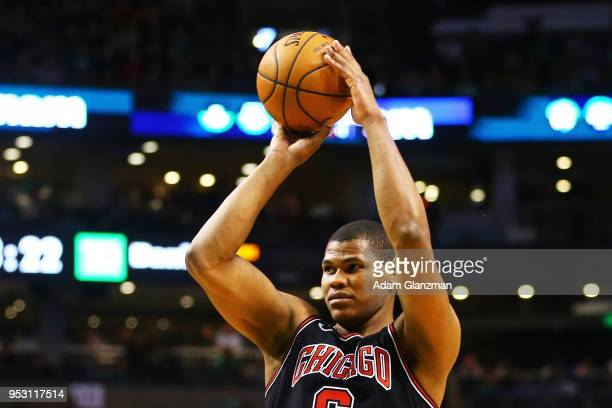 Cristiano Felicio of the Chicago Bulls shoots the ball during a game agiainst the Boston Celtics at TD Garden on April 6 2018 in Boston Massachusetts...