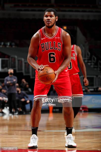Cristiano Felicio of the Chicago Bulls shoots the ball during the game against the Washington Wizards on February 8, 2021 at United Center in...