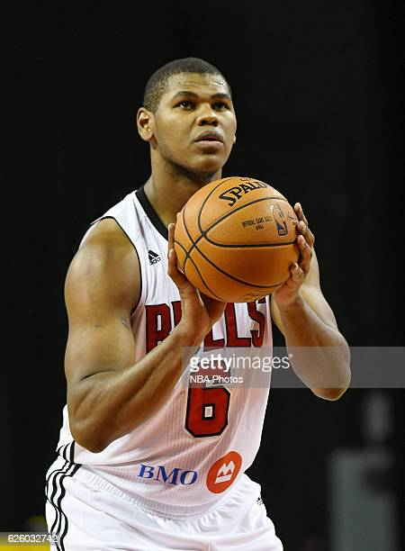 Cristiano Felicio of the Windy City Bulls at the free throw line against Delaware 87ers on November 26, 2016 at the Sears Centre in Hoffman,...