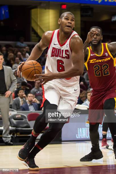 Cristiano Felicio of the Windy City Bulls handles the ball against the Canton Charge on December 28 2017 at Quicken Loans Arena in Cleveland Ohio...