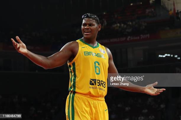 Cristiano Felicio#6 reacts during FIBA World Cup 2019 Group K match between Czech Republic and Brazil at Shenzhen Bay Sports Centre on September 7,...