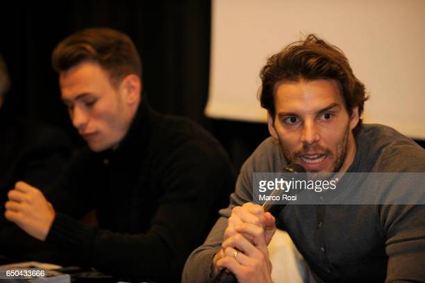 Cristiano Lombardi and Federico Marchetti of SS Lazio meets school students with his teammates on March 9 2017 in Rome Italy