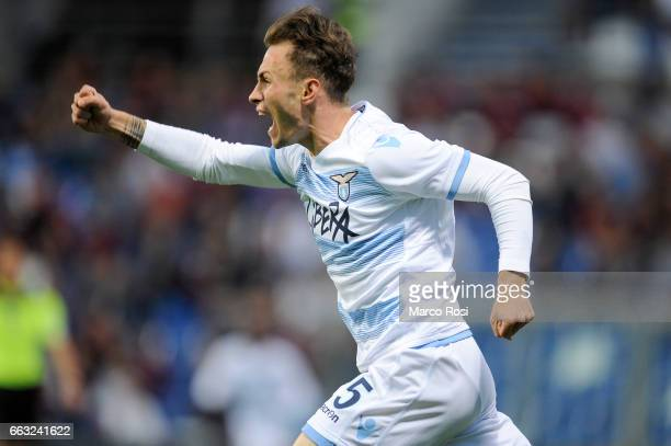 Cristiano Lombardi of SS Lazio celebrates a second goal with his team mate during the Serie A match between US Sassuolo and SS Lazio at Mapei Stadium...