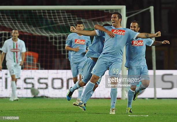 Cristiano Lucarelli of SSC Napoli celebrates with teammates after scoring during the Serie A match between Juventus FC and SSC Napoli at Olimpico...